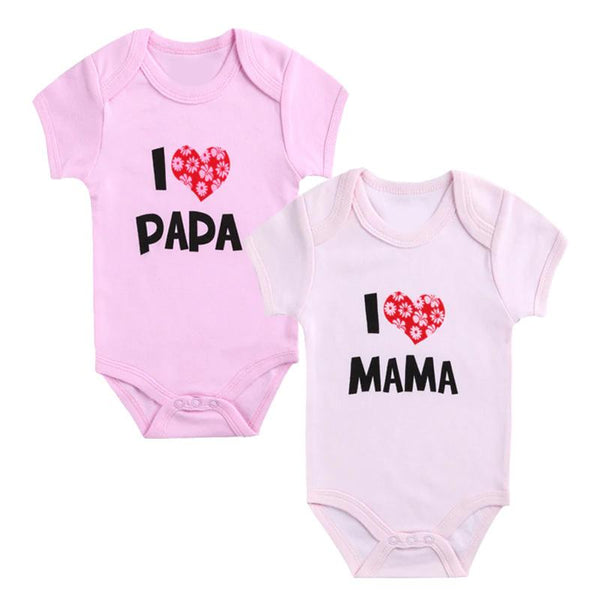 Set of 2 - I love Mama I love Papa Pink Baby Romper (3-6 months)