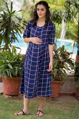 Navy Cotton Maternity and Nursing Dress