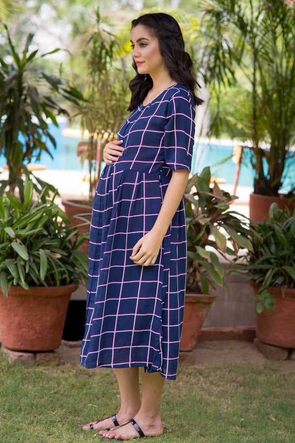 Navy Cotton Maternity and Nursing Dress - MOMZJOY.COM