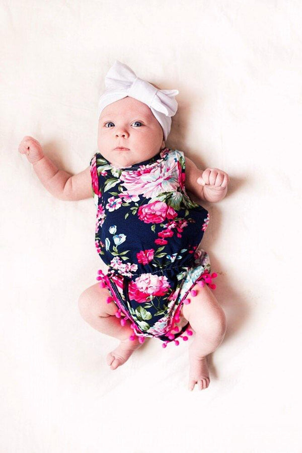 Adorable Blue Floral Baby Romper With Headband (0-6 months) - MOMZJOY.COM
