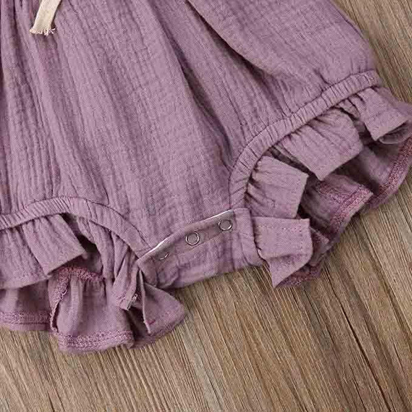 Cute Purple Ruffle Baby Romper (0-6 months) - MOMZJOY.COM