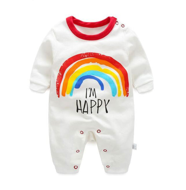 100% Cotton I Am Happy Baby Romper (0-3 months) - MOMZJOY.COM