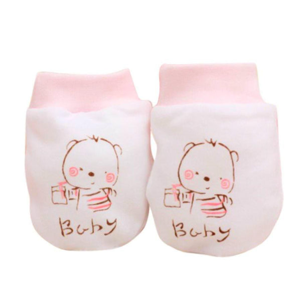 Newborn Pink Teddy Infant Anti-Scratch Mittens