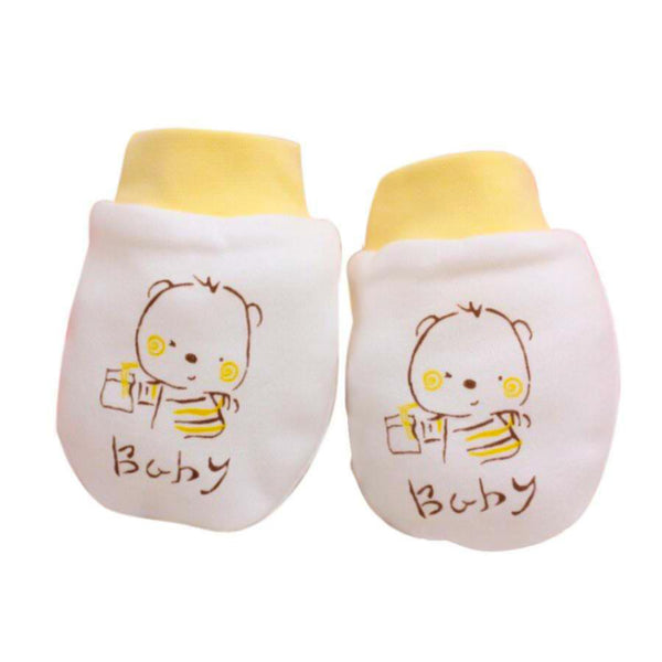 Newborn Yellow Teddy Infant Anti-Scratch Mittens
