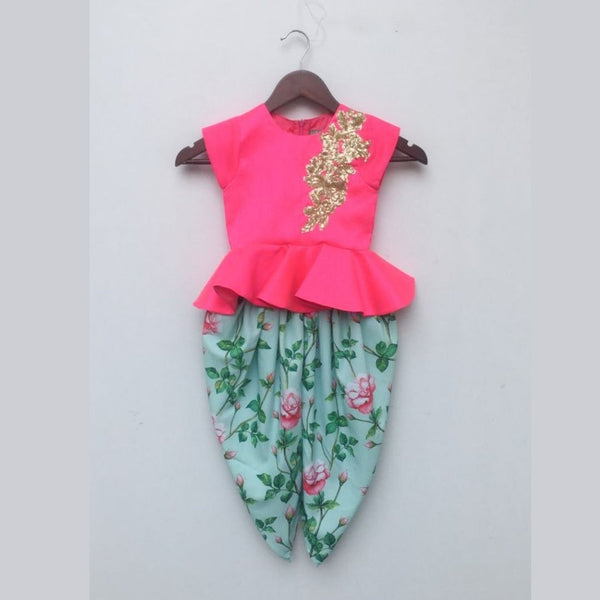 Pink Peplum Top with Floral Dhoti
