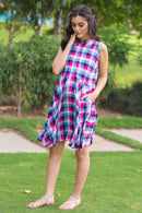 Pink Chestnut Plaid Maternity & Nursing Dress - MOMZJOY.COM