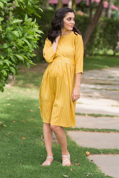 Mustard Striped Maternity & Nursing Swing Dress