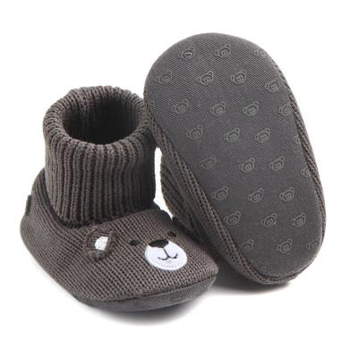 Hand knitted Grey Teddy Booties (0-1 Year)
