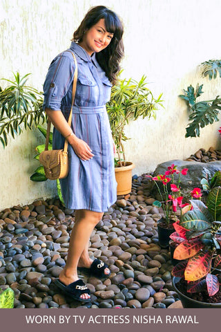 Denim Stripe Versatile Maternity & Nursing Shirt Dress