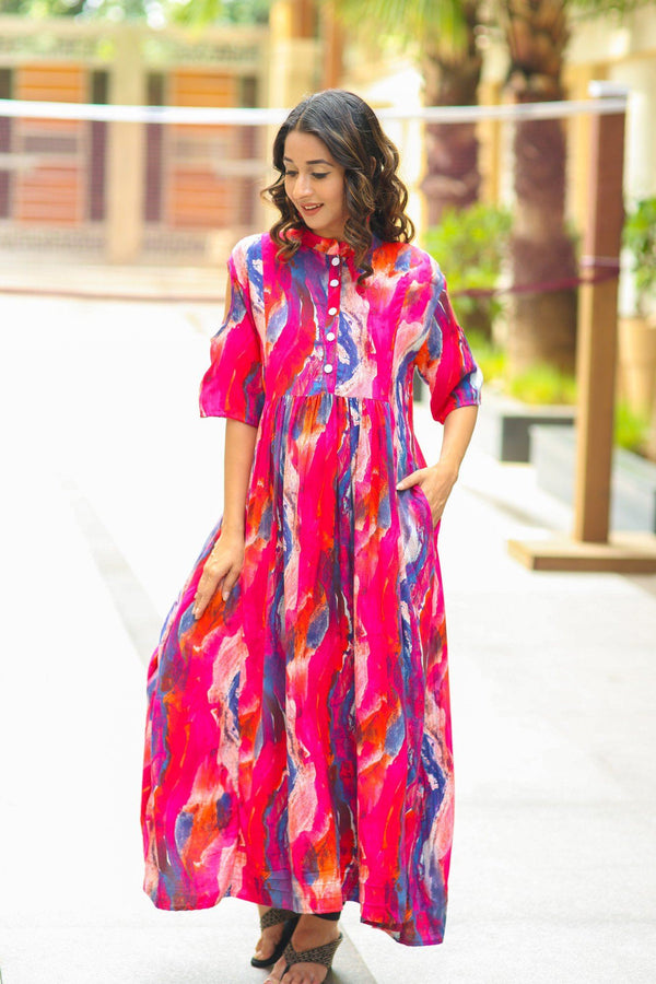 Multicolor Abstract Cold Shoulder Nursing Kurta
