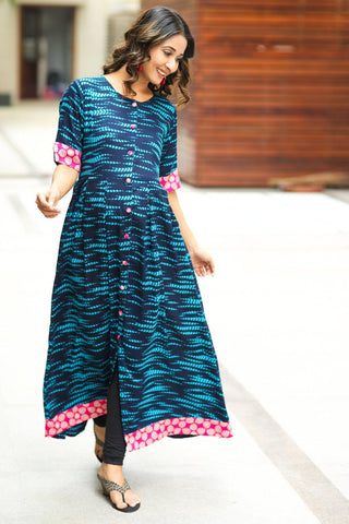 Deep Blue Dyed Maternity and Nursing Kurta