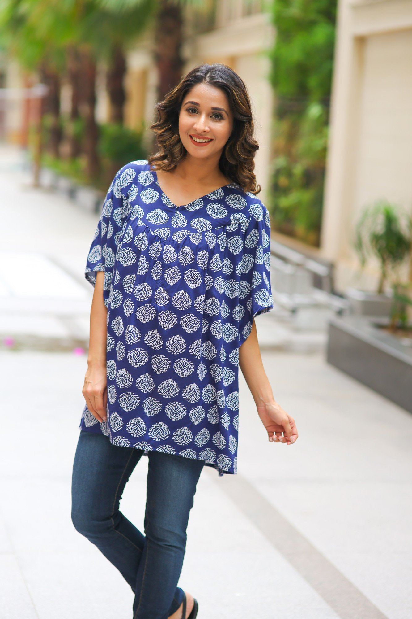 V-Neck Boho Block Print Maternity & Nursing Top