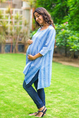 Denim Front Zip Maternity & Nursing Top