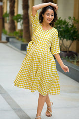 Spring Yellow Plaid Maternity and Nursing Dress
