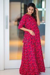 Bubble Crepe Chic Red Maternity & Nursing Wrap Dress