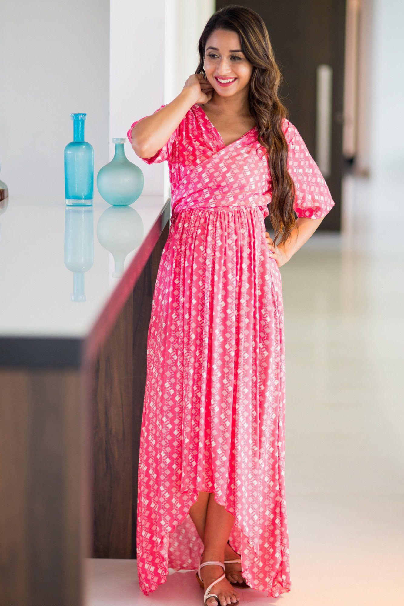 Bubblegum Pink Hi-Low Maternity & Nursing Wrap Dress - MOMZJOY.COM