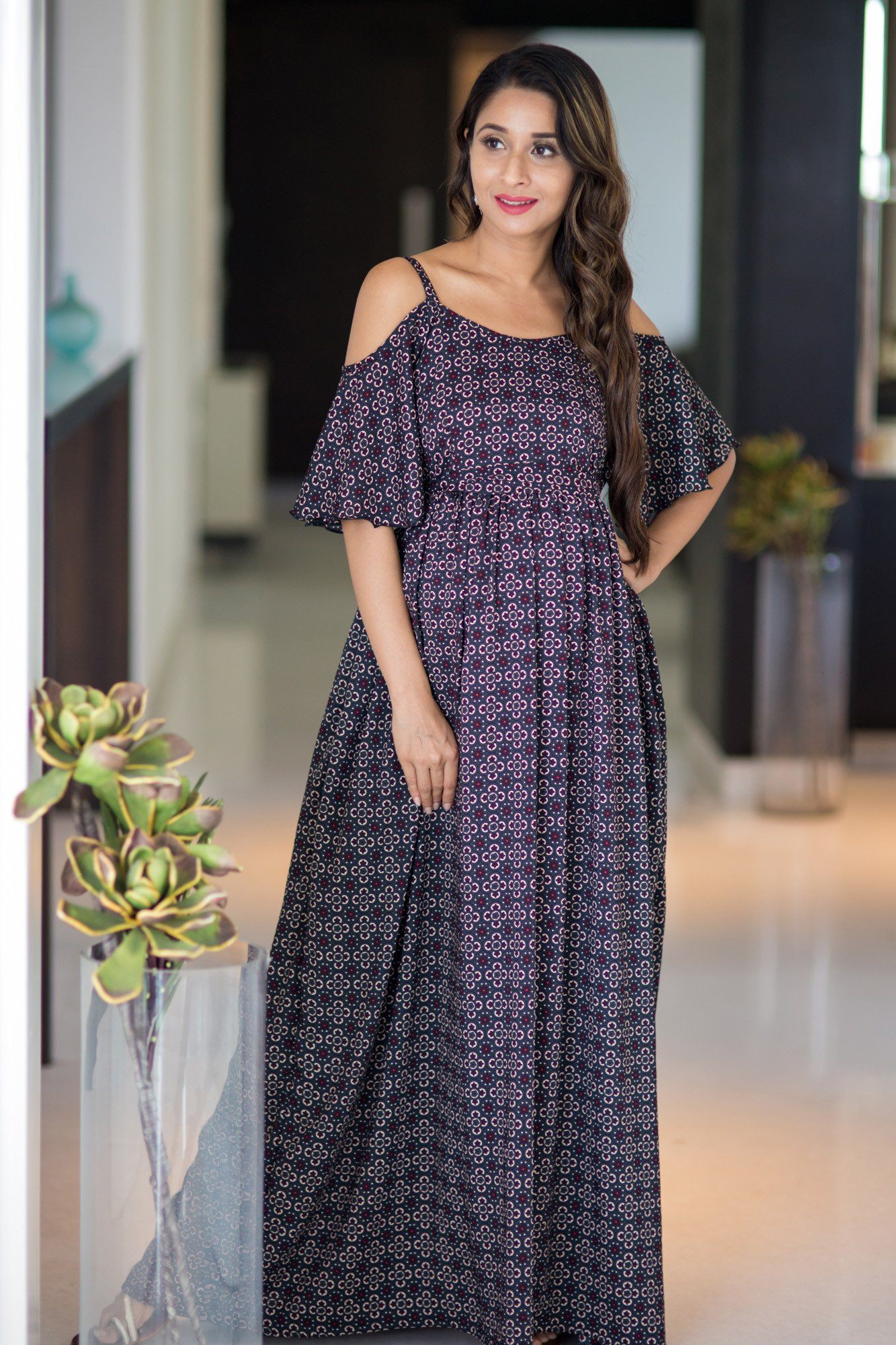 Crystal Noir Cold Shoulder Maternity Maxi Dress - MOMZJOY.COM