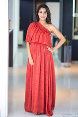 Auburn Luxe One Shoulder Maternity Maxi Dress