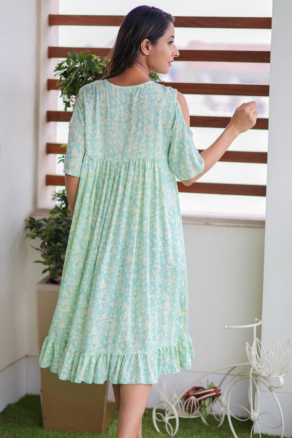 Mint Green Cold Shoulder Frill Maternity Dress - MOMZJOY.COM