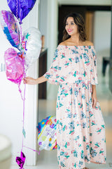 Chirpy Peach Off-Shoulder Maternity Maxi Dress