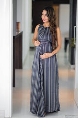 Exclusive Stripe Vogue Sleeveless Maternity & Nursing Maxi Dress
