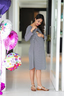 Classic Striped Maternity & Nursing Lift Up Dress - MOMZJOY.COM