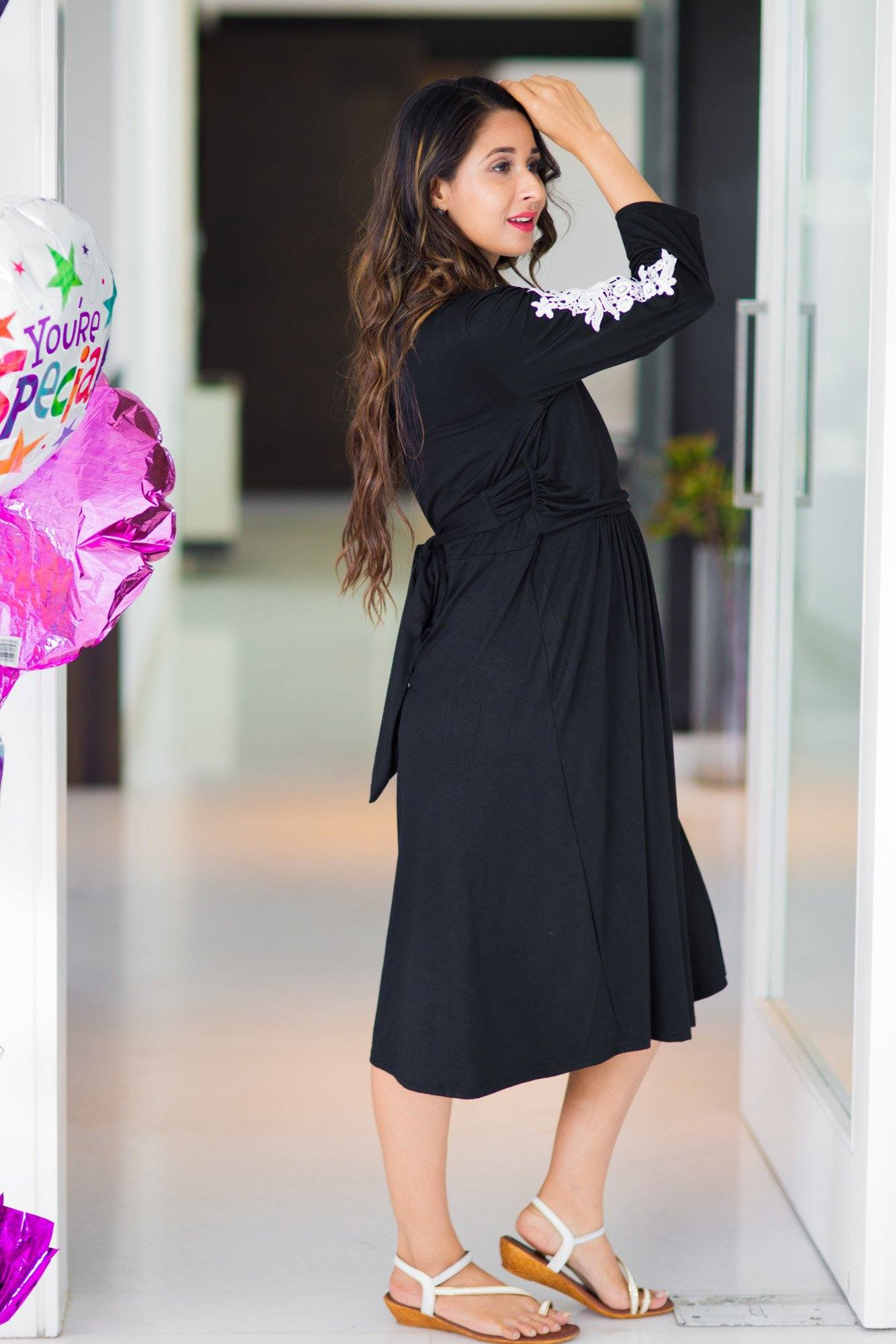 Buy online momzjoy maternity dresses pregnancy wear nursing clothes crochet black wrap tie maternity nursing dress ombrellifo Choice Image