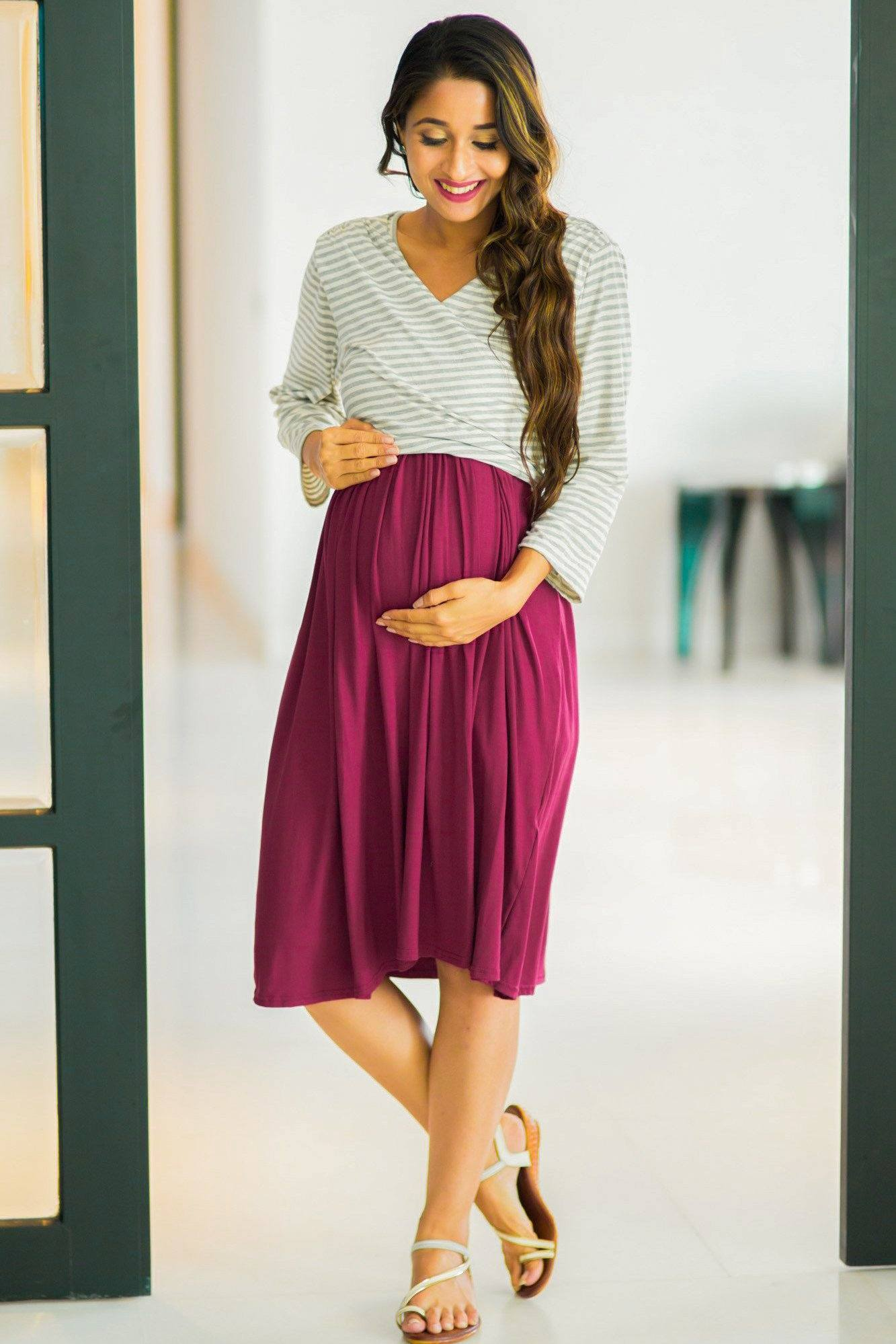 Buy maternity clothes pregnancy wear online india grey striped mulberry wrap tie maternity nursing dress ombrellifo Gallery