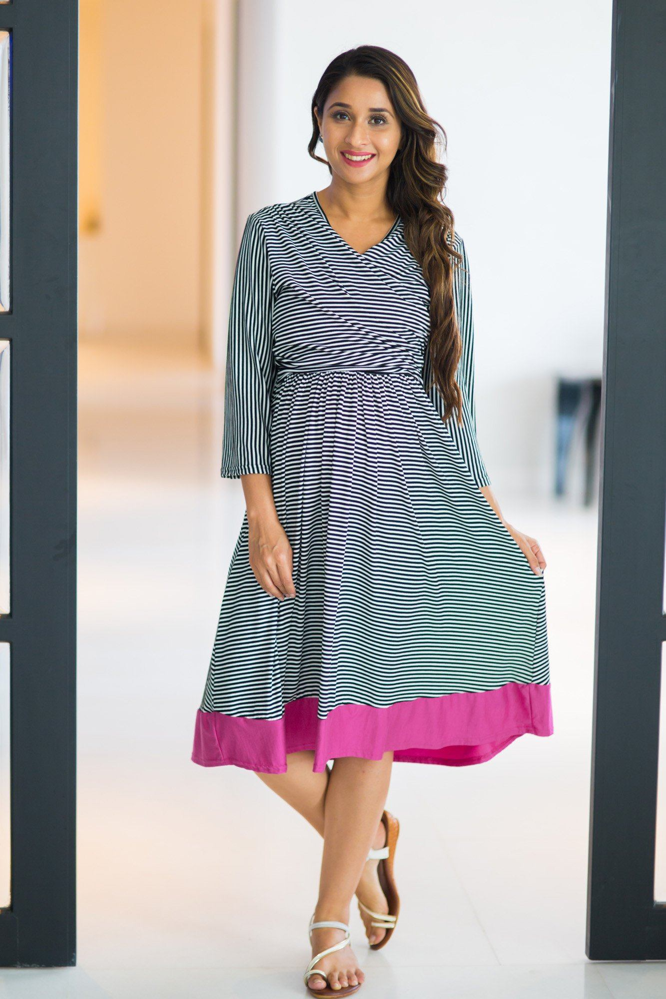 Buy maternity clothes pregnancy wear online india timeless striped fuchsia maternity nursing wrap dress ombrellifo Gallery