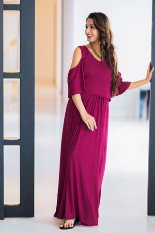 Sangria Cold Shoulder Maternity & Nursing Maxi Dress