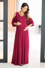 Burgandy Cold Shoulder Maternity & Nursing Maxi Dress - MOMZJOY.COM