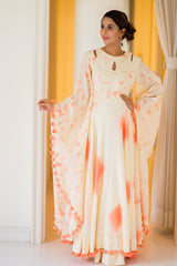 Peach & Off White Bomb Dye & Clamp Dye Bell Sleeve Designer Maternity Maxi (MADE TO ORDER)