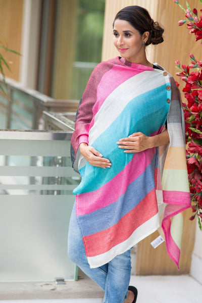 Multicolor Luxe Striped Nursing Stole - MOMZJOY.COM