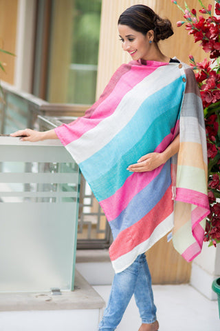 Multicolor Luxe Striped Nursing Stole