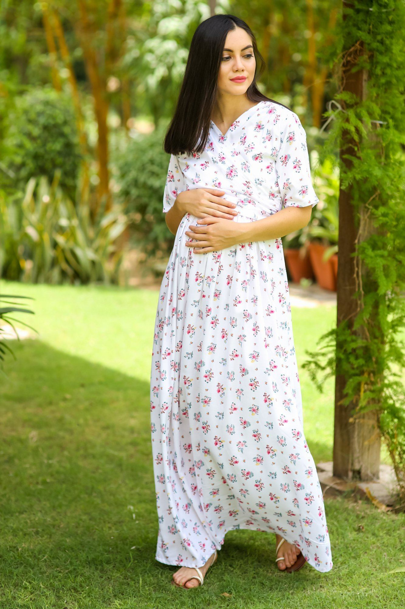 Serene White Blossom Maternity & Nursing Wrap Dress