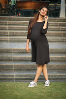 Black Pocket Maternity Dress - MOMZJOY.COM