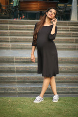 Black Pocket Maternity Dress - MOMZJOY.COM - 3