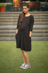 Black Pocket Maternity Dress - MOMZJOY.COM - 1