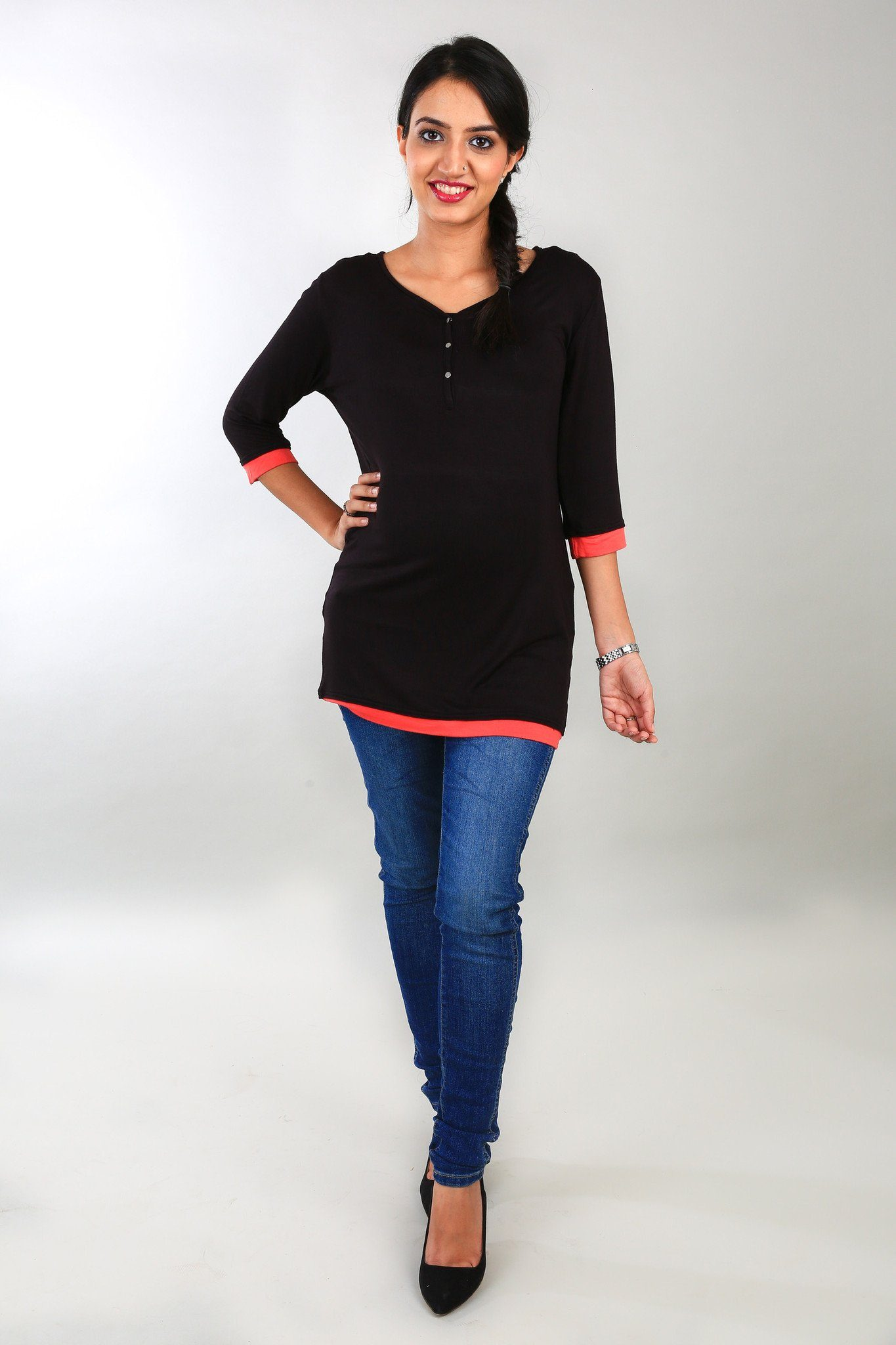 Black 3/4 Sleeves Maternity Top - MOMZJOY.COM - 1