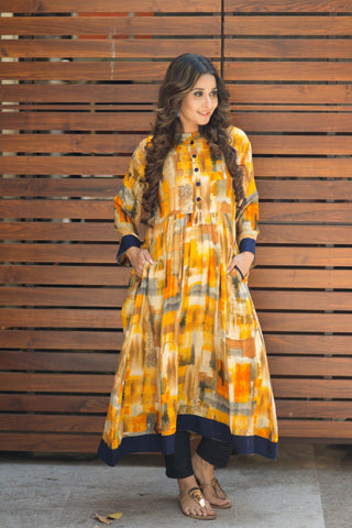 Vibrant Abstract Yellow Nursing Kurta