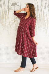 Wine Red Concealed Zip Nursing Kurta
