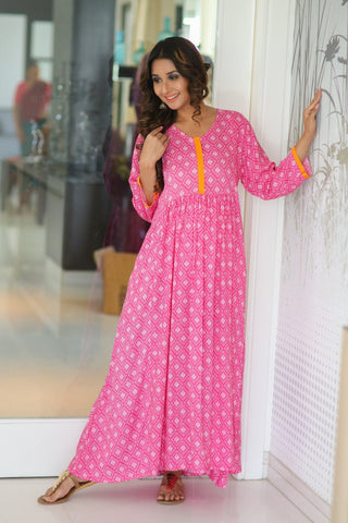 Rose Pink Front Zip Long Anarkali Dress