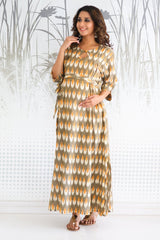 Ikat Side Slit Long Nursing Dress