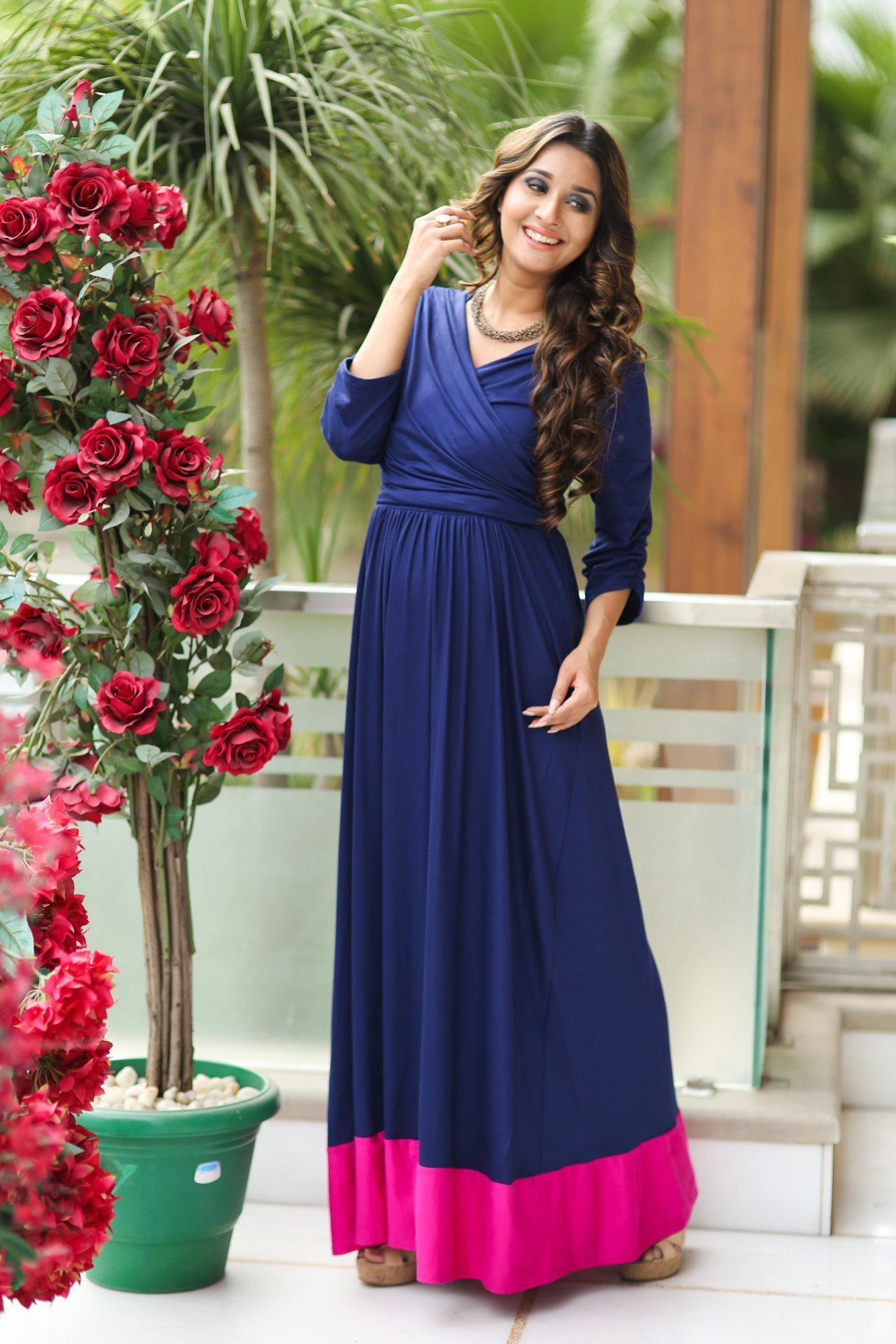 Blue Contrast Front Wrap Maternity & Nursing Dress