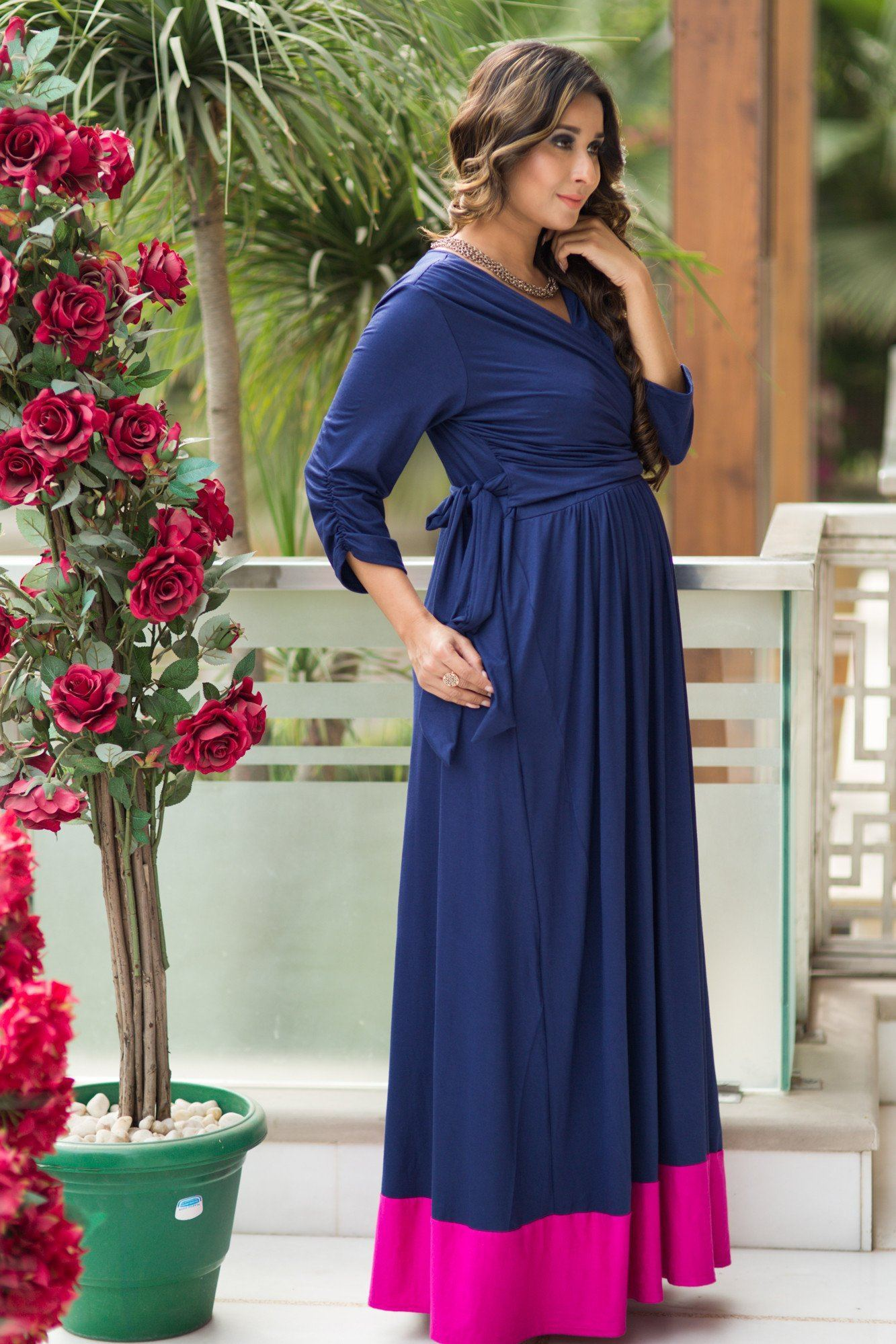 Blue Contrast Front Wrap Maternity & Nursing Dress - MOMZJOY.COM