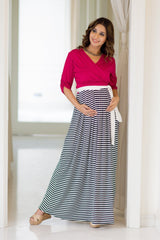Pink Striped Maternity & Nursing Wrap Dress