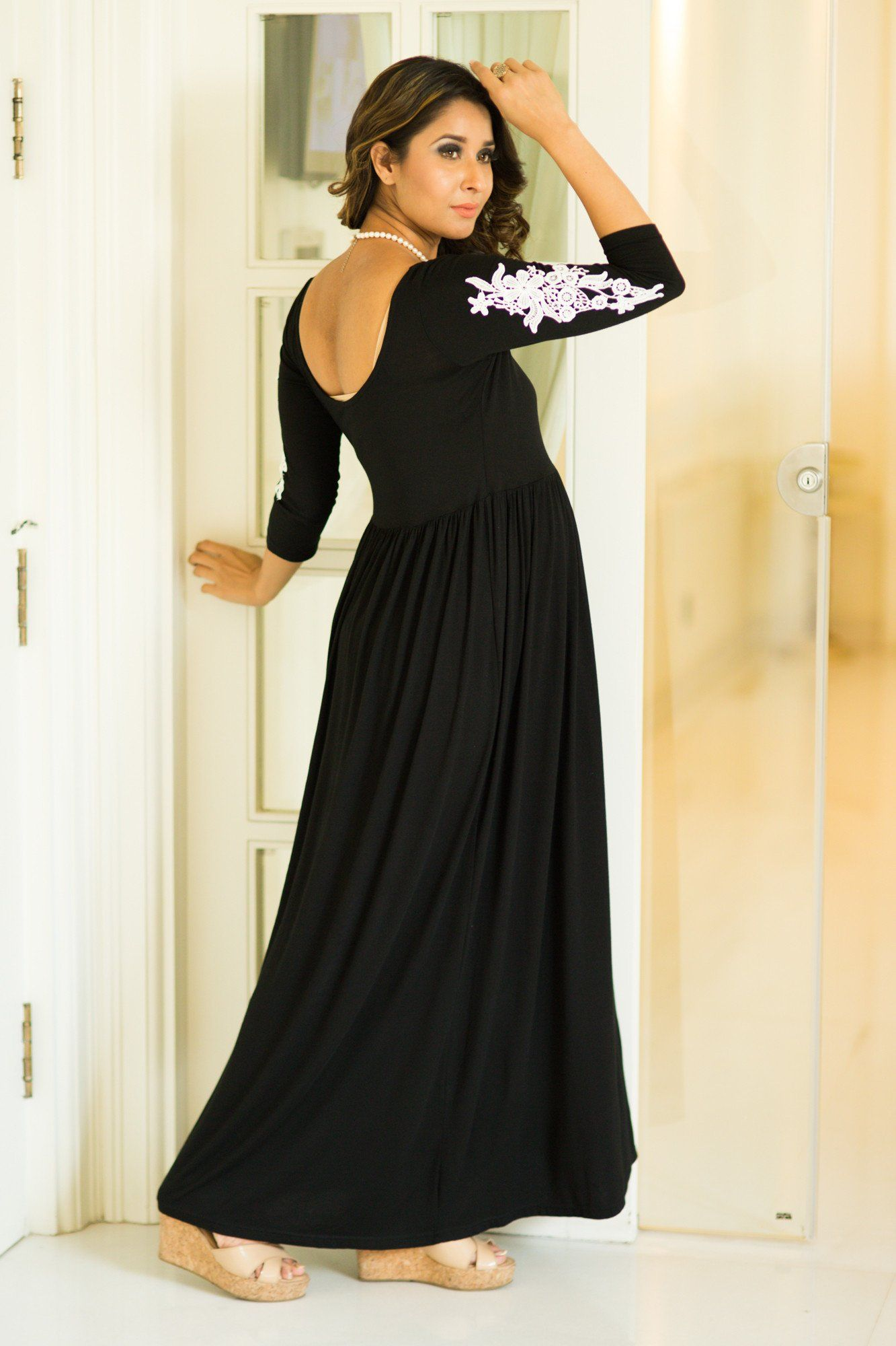 Premium Black Lycra Crochet Maternity Dress