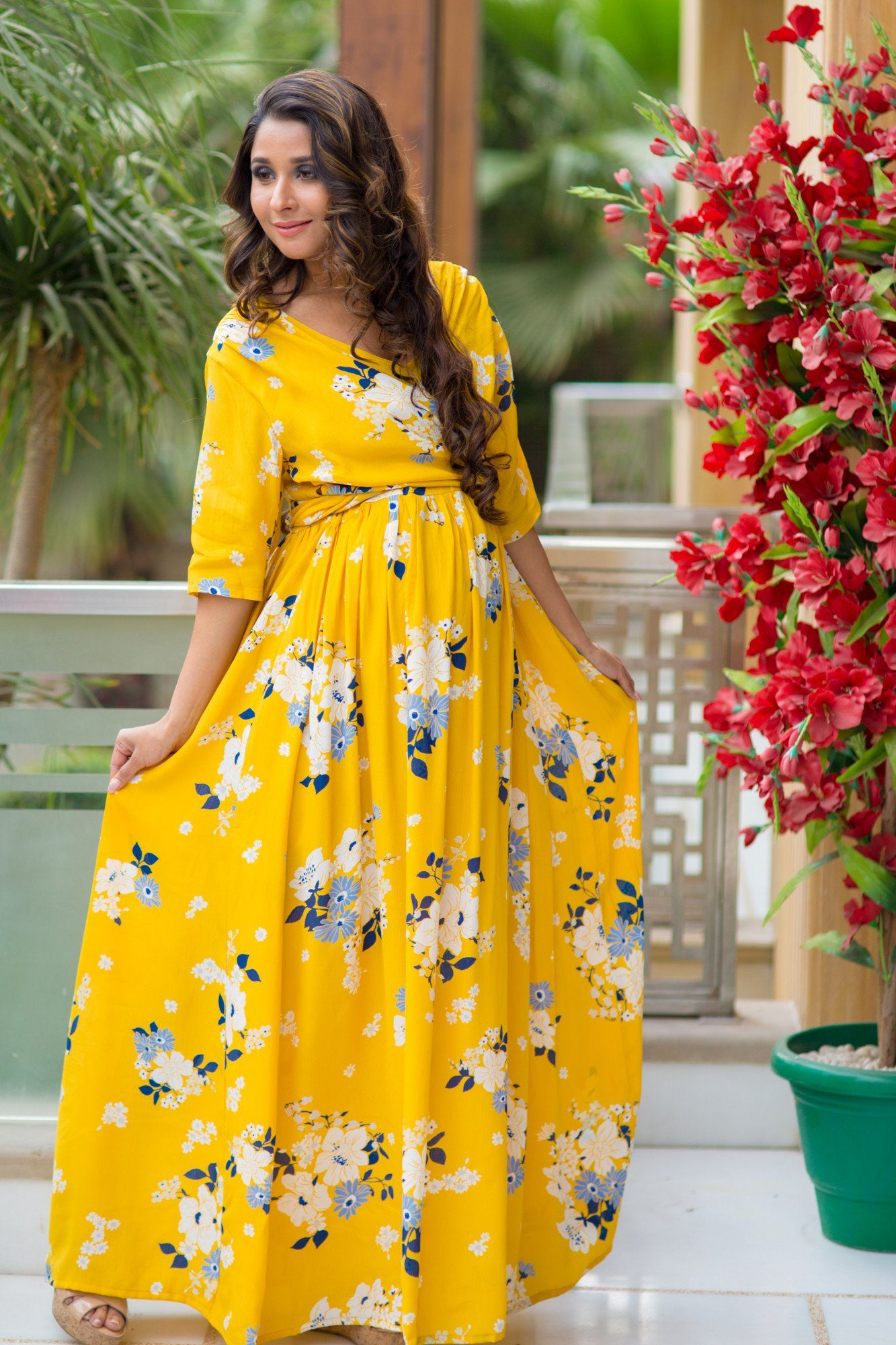 SO - Hello Yellow Floral Maternity & Nursing Wrap Dress - Pay