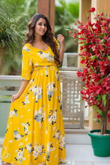Hello Yellow Floral Maternity & Nursing Viscose Wrap Dress