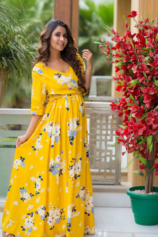 Hello Yellow Floral Maternity & Nursing Soft Crepe Wrap Dress